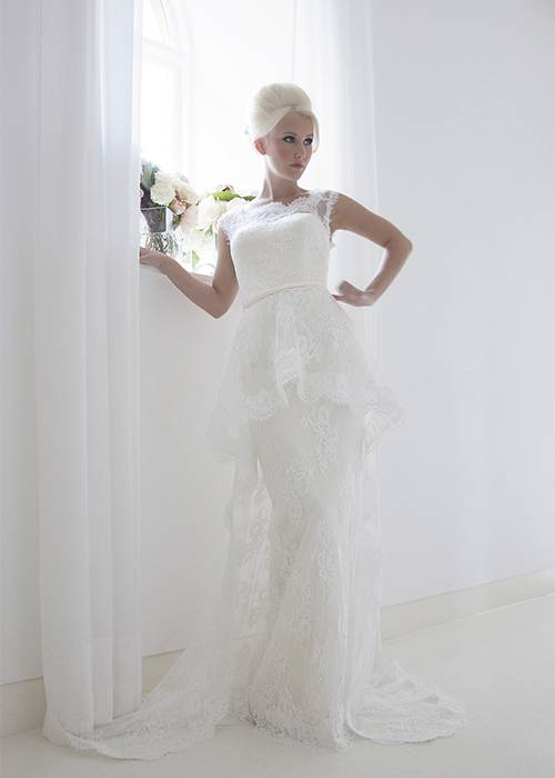 wedding dress with mikado column