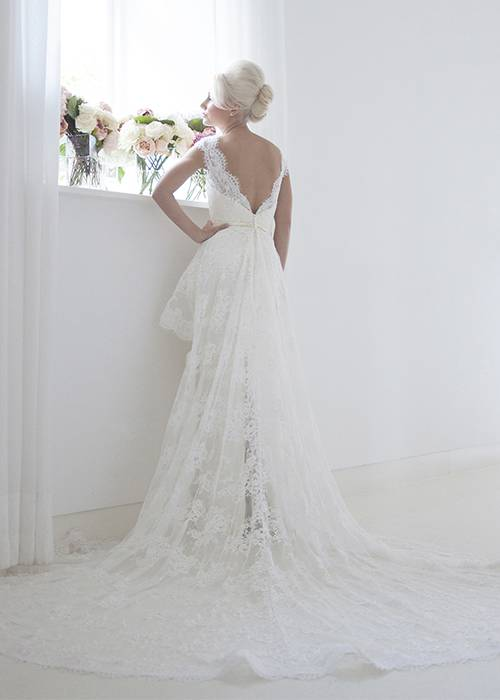 lace column bridal gown