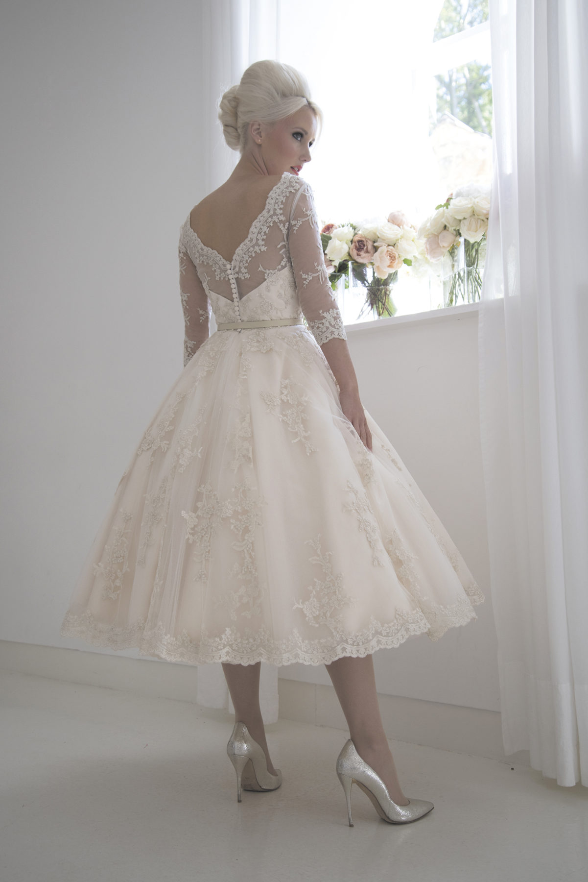 champagne vintage tea length dress