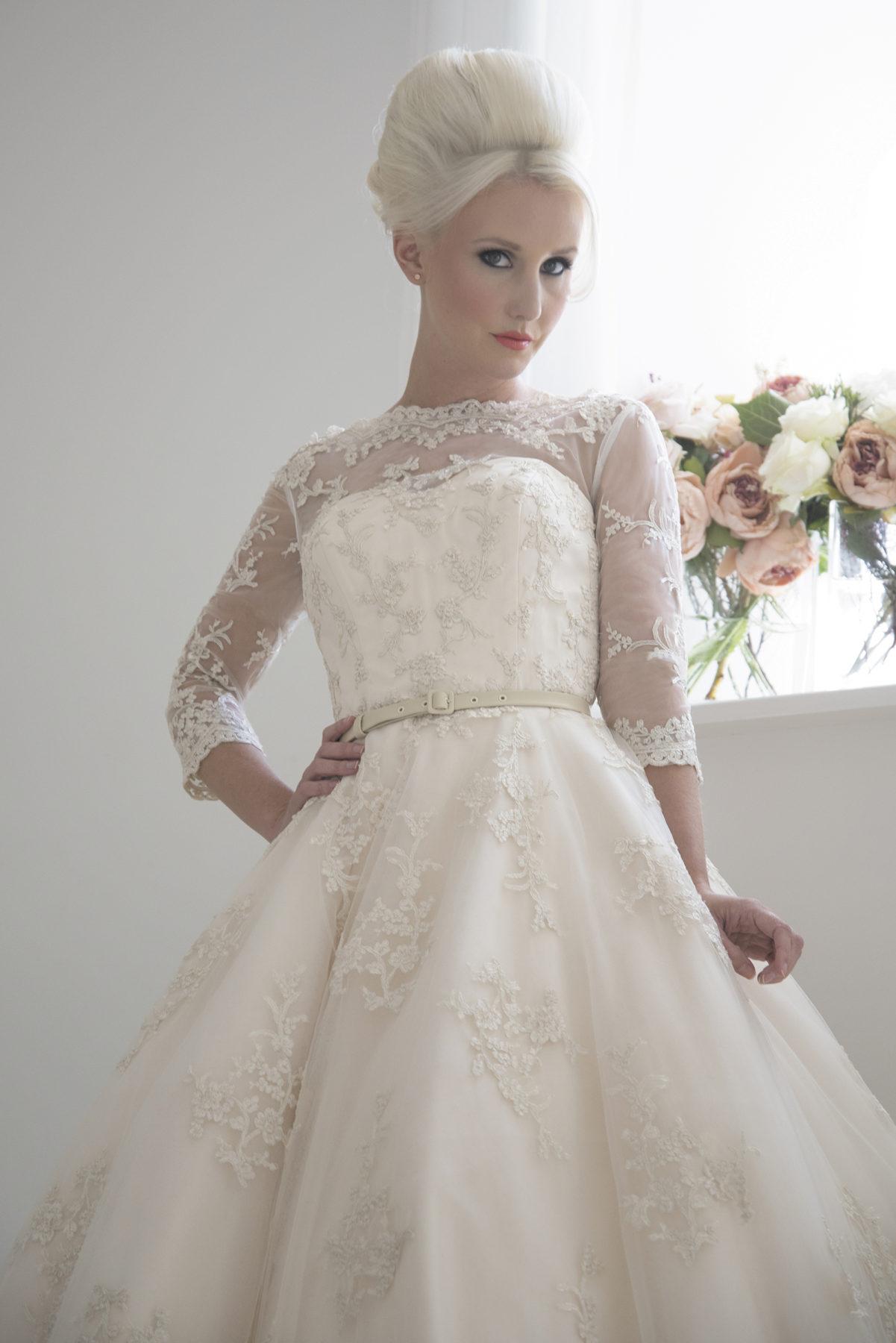 champagne vintage tea length bridal gown