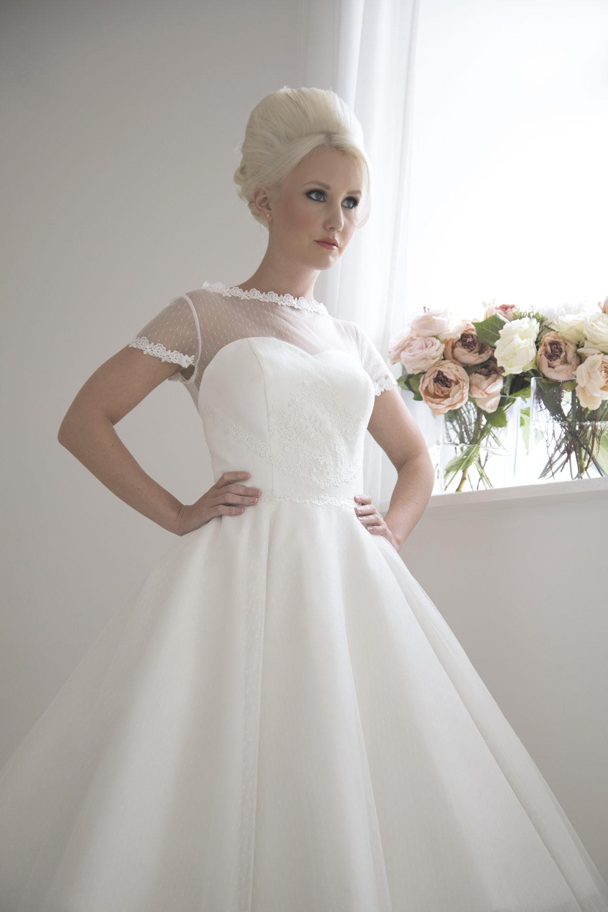 spot tulle tea length dress
