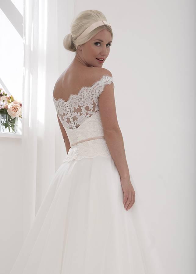boho off the shoulder wedding gown