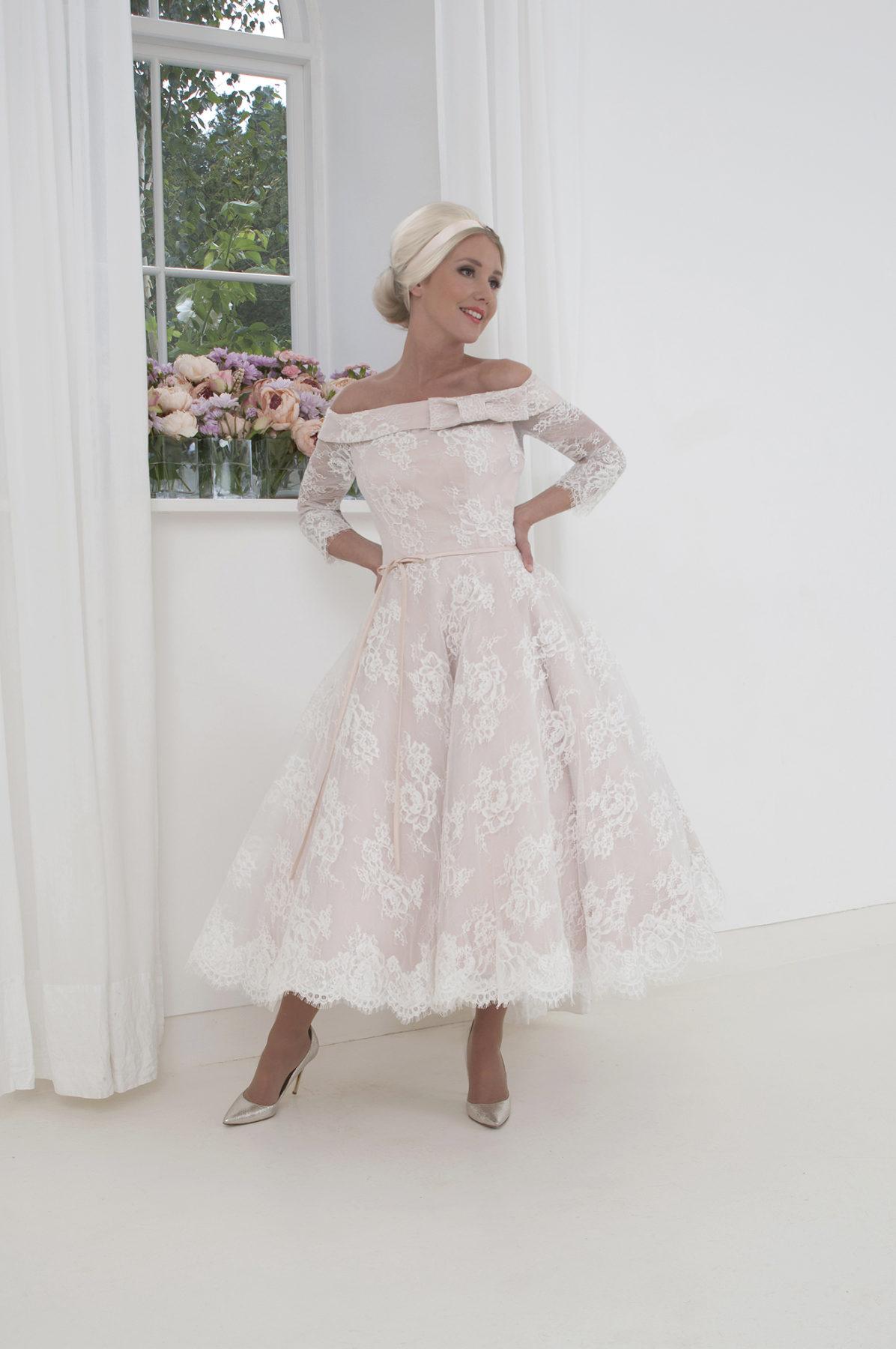 Bardot neckline wedding dress
