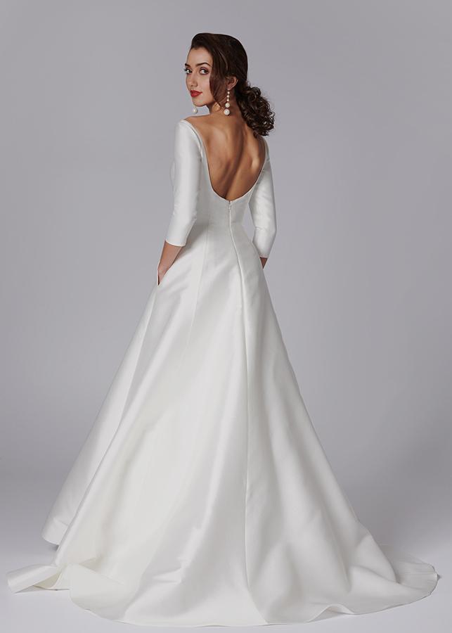 Celia Back Meghan Markle Wedding Dress Slash Neck Mikado Satin Princess Line. Elegant Simple