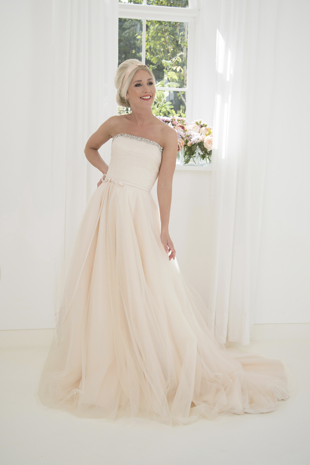 strapless nude tulle ballgown