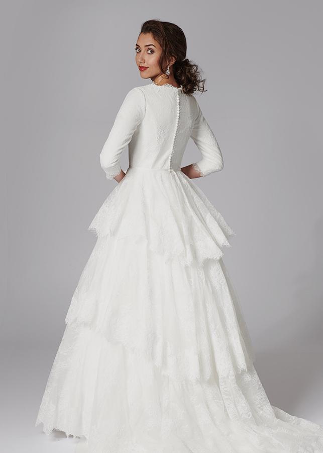 Dinah Back Modest Elegant Modern Ivory Mikado Lace Details Ballgown Skirt Lace Applique Train Wedding Dress