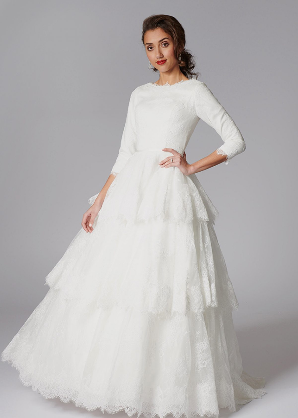 Conservative And Modest Ivory Lace Ballgown With 3 Tier Ruffle Layered Skirt
