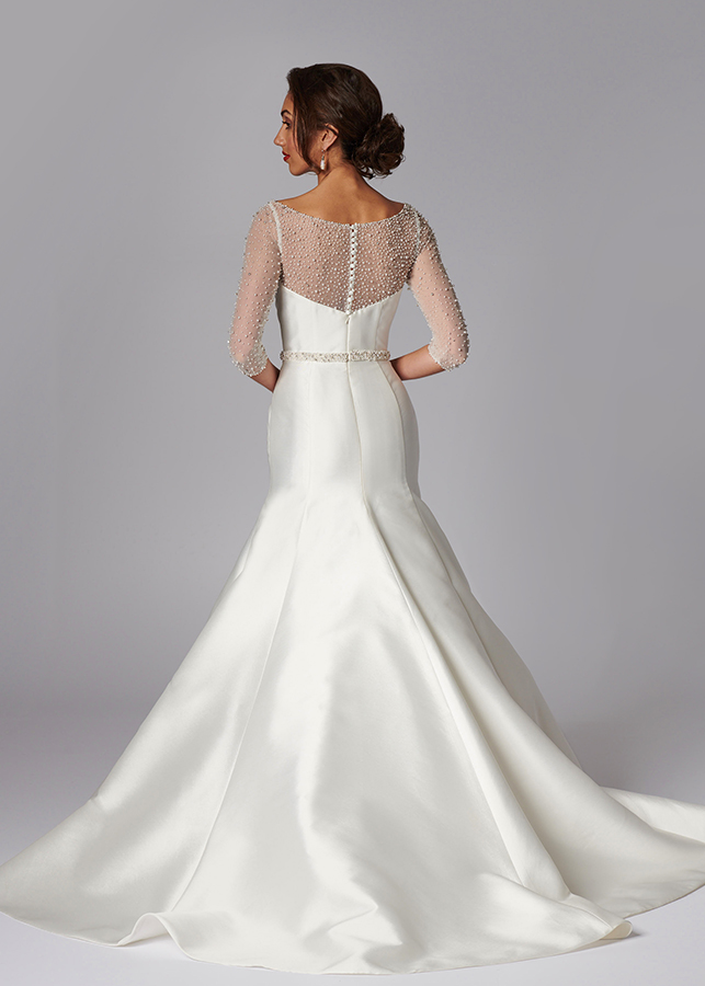 Evangeline Back Fishtail Mikado Wedding Dress Diamante Pearl Illusion Neckline Ivory Red Black Sweetheart Bodice Train