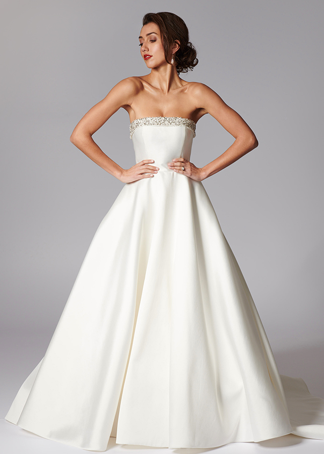 Everly Front Mikado Satin Wedding Gown Strapless Diamante Collar Detail Train
