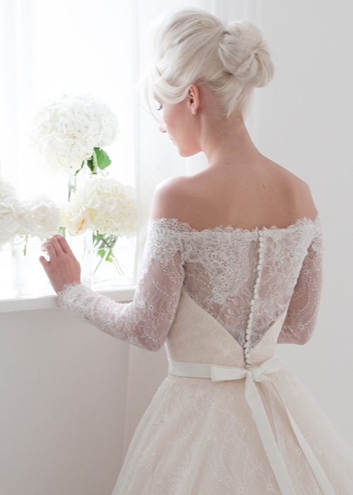 lace ballgown off the shoulder