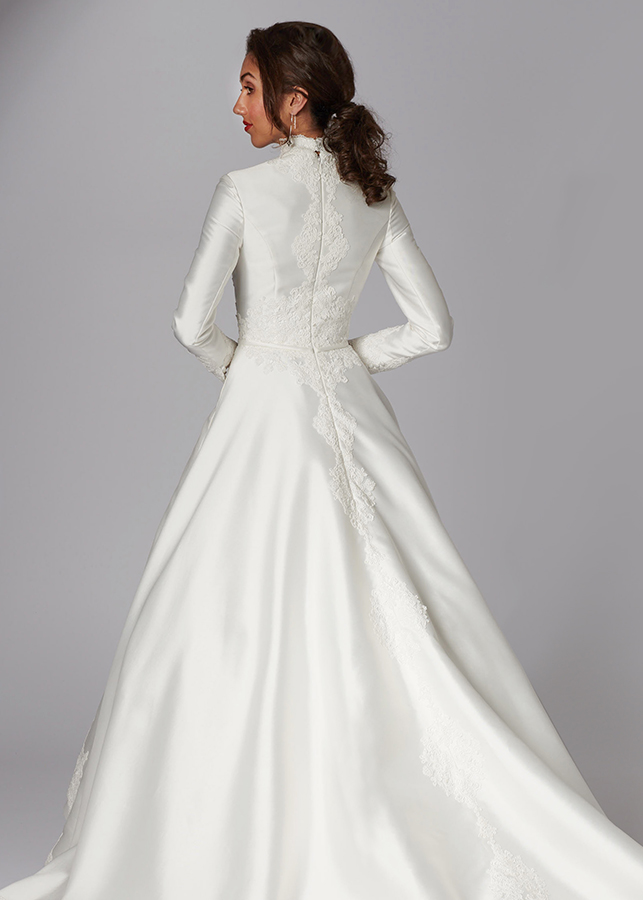 Hannah Back Modest Elegant Modern Ivory Mikado Lace Details Ballgown Skirt Lace Applique Train Wedding Dress