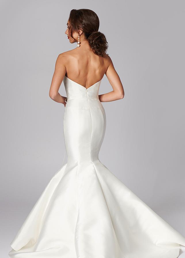 Hudson Back Stunning Mikado Satin Fishtail Wedding Dress Ivory Train