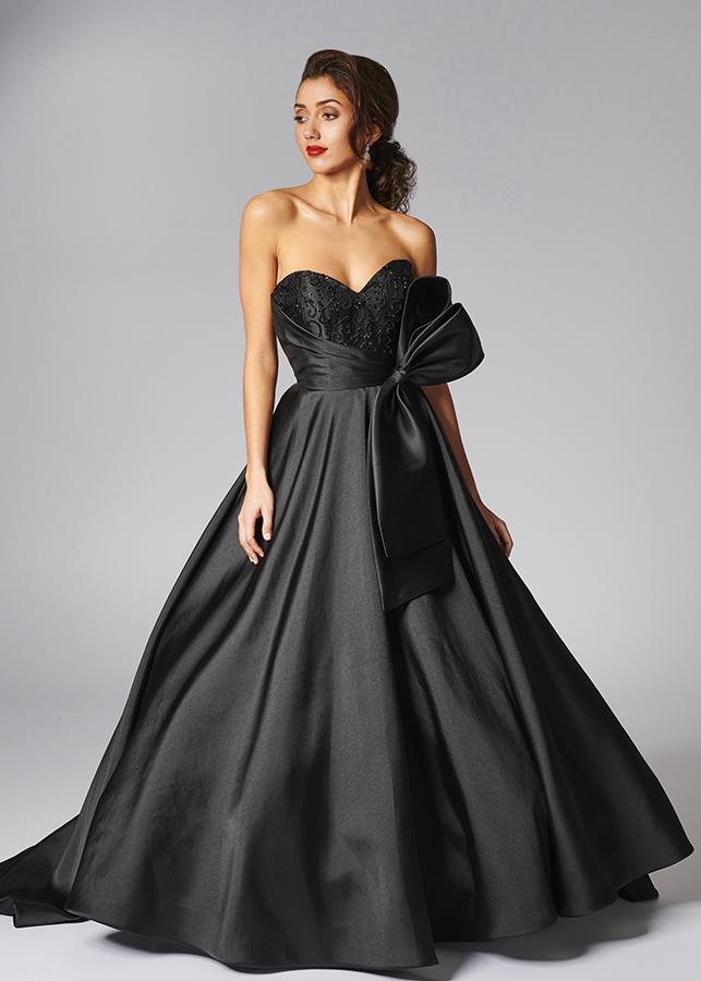 Imogen Front Beaded Black Wedding Dress Bow Sweetheart Neckline Gothic Glamour Ballgown Skirt