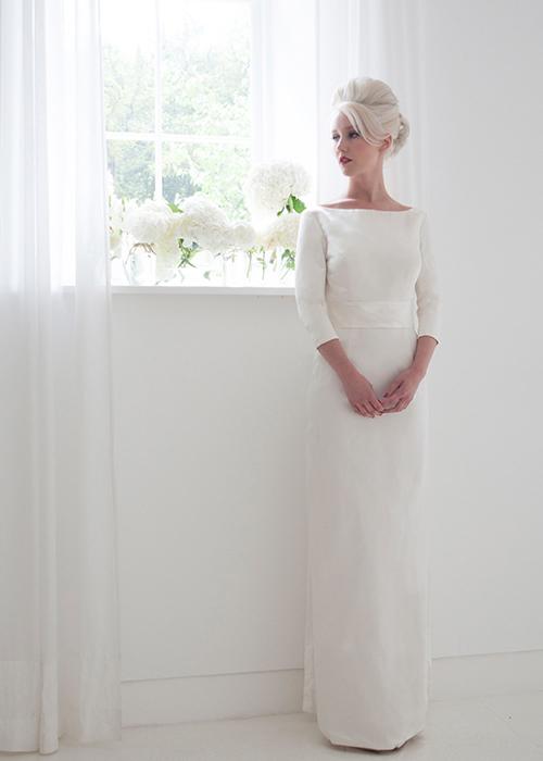 tailored column wedding dress