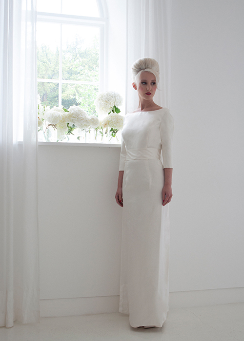tailored column bridal gown