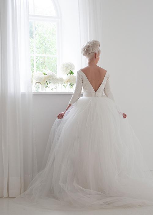 tailored wedding dress rear view