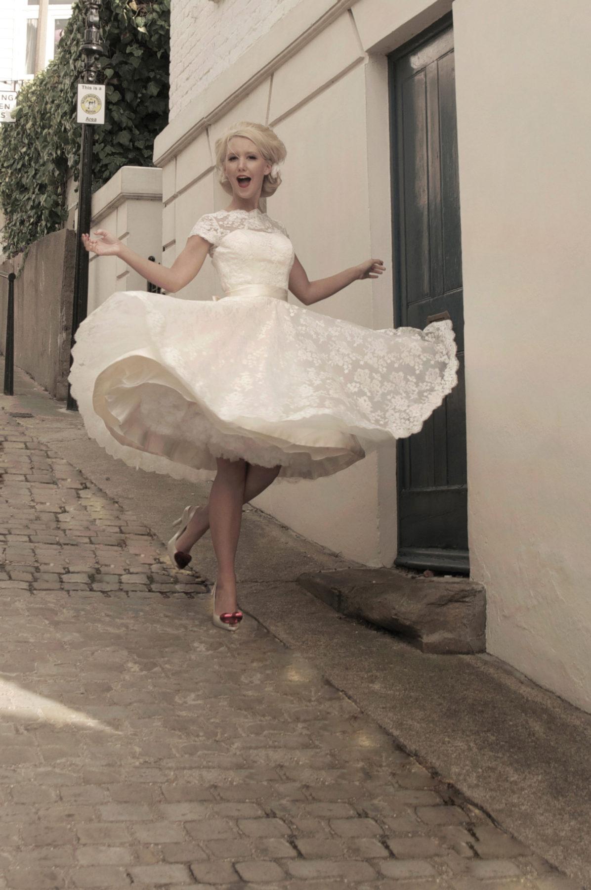 short lace bridal gown