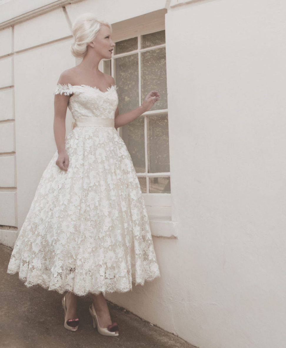 ballerina length full lace bridal gown