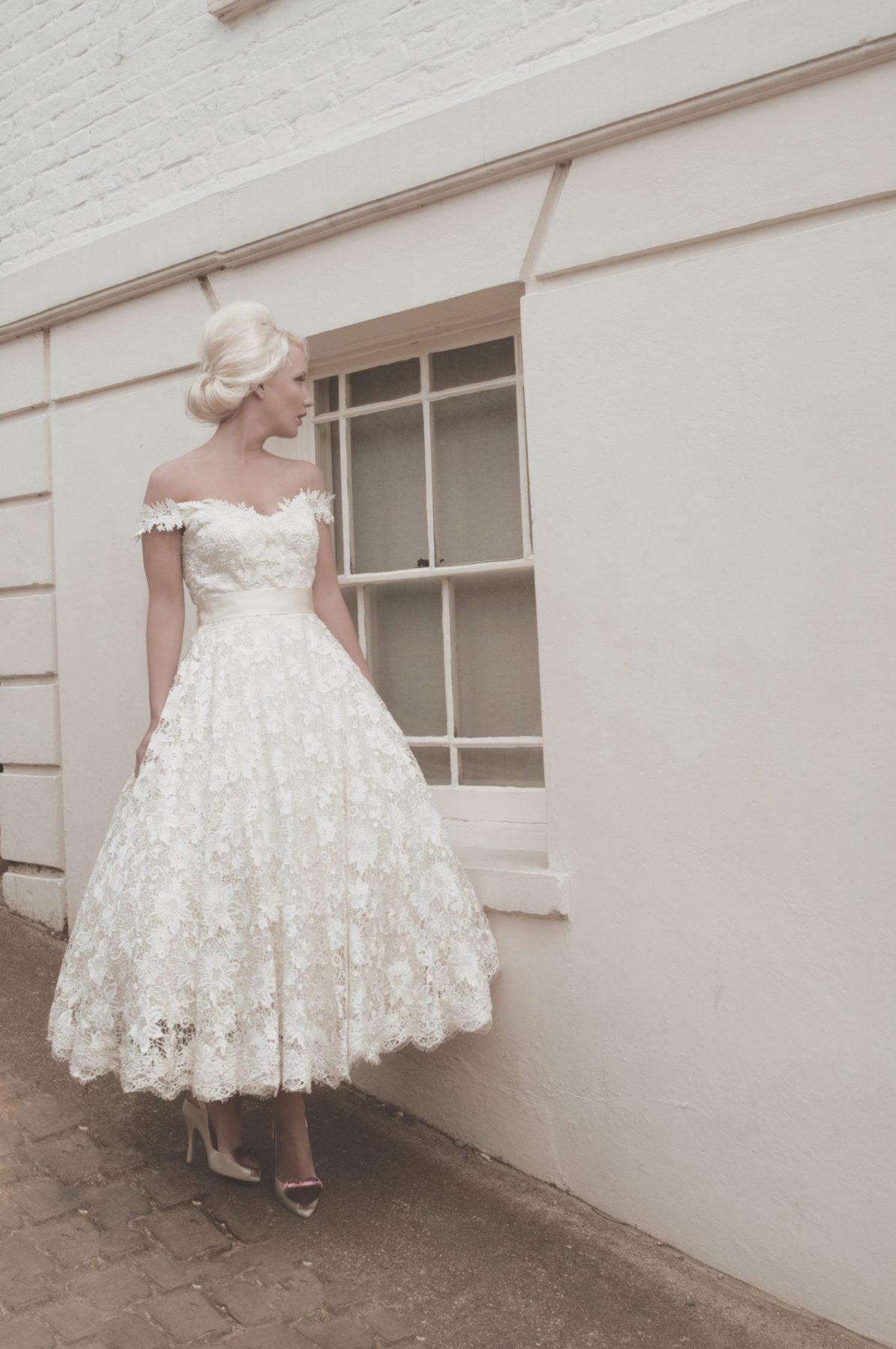 ballerina length full lace wedding dress