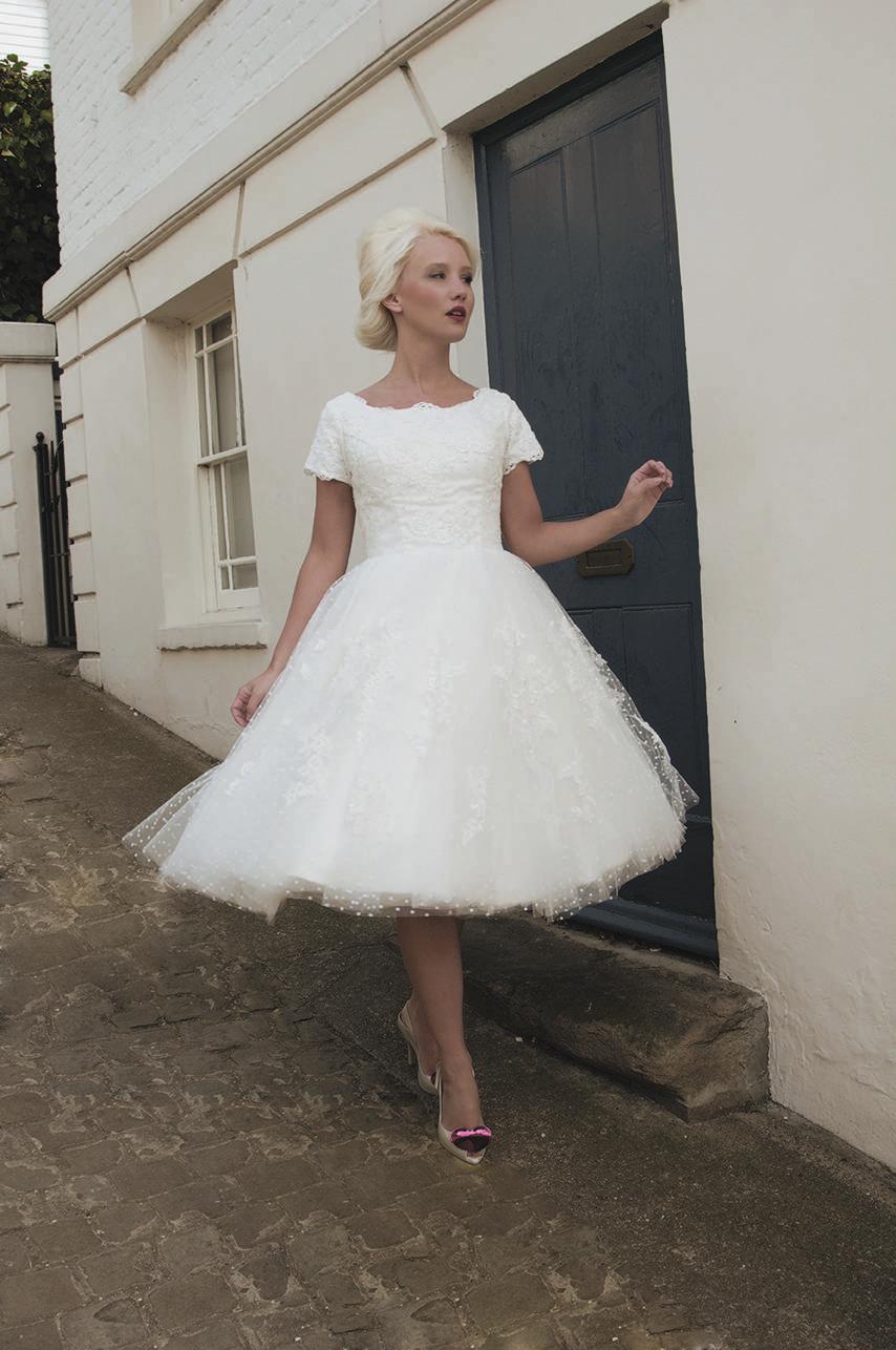 knee height wedding dress