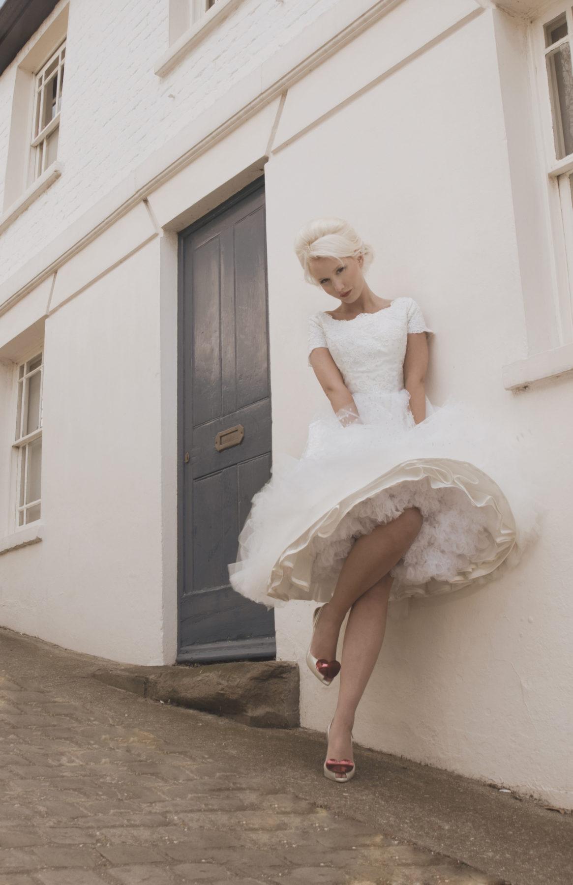 spot tulle tea length wedding dress