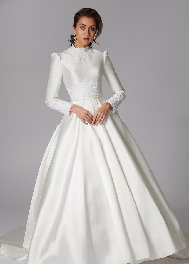 Magdelene Front Modest Elegant Modern Ivory Mikado Lace Details Ballgown Skirt Lace Applique Decorates Waist Train Wedding Dress