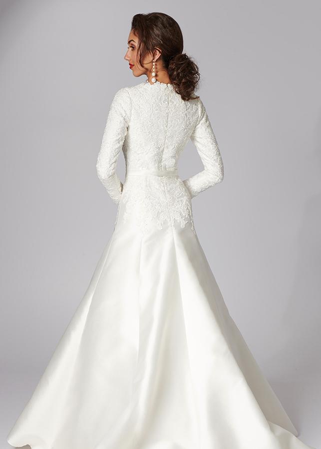 Maya Back Modest Elegant Modern Ivory Mikado Lace Details Ballgown Skirt Lace Applique Train Wedding Dress