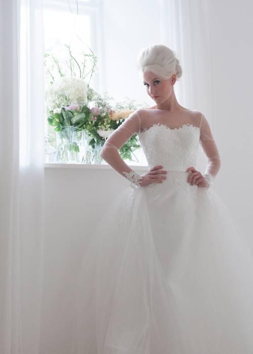 column bodice wedding dress