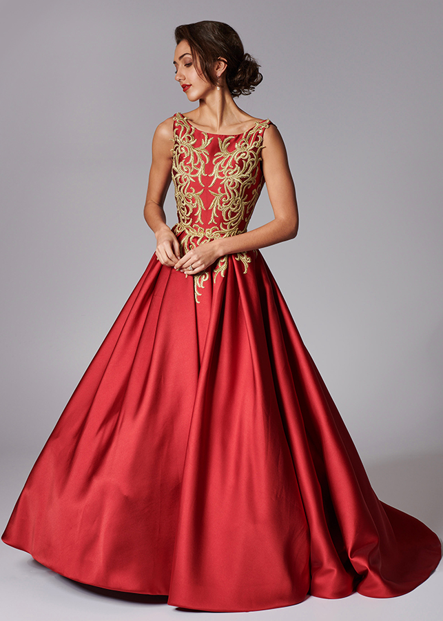 Petra Front Red Wedding Dress Gold Embroidered Ballgown