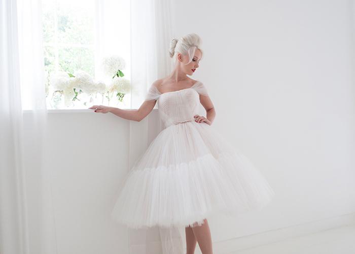 tulle layered wedding dress