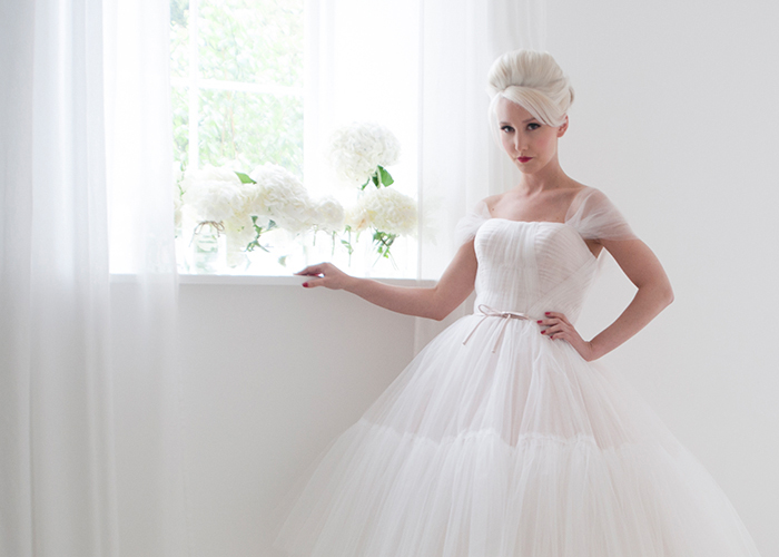 tulle layered bridal gown