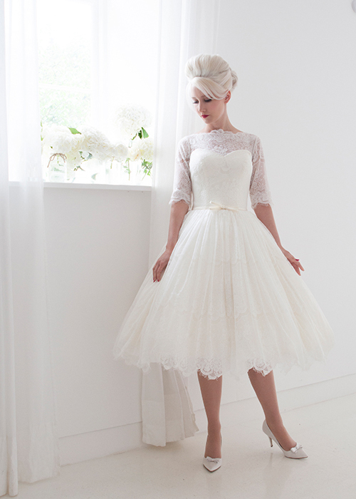 lace short bridal gown