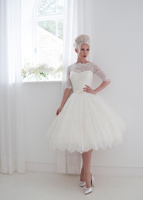 lace tea length dress