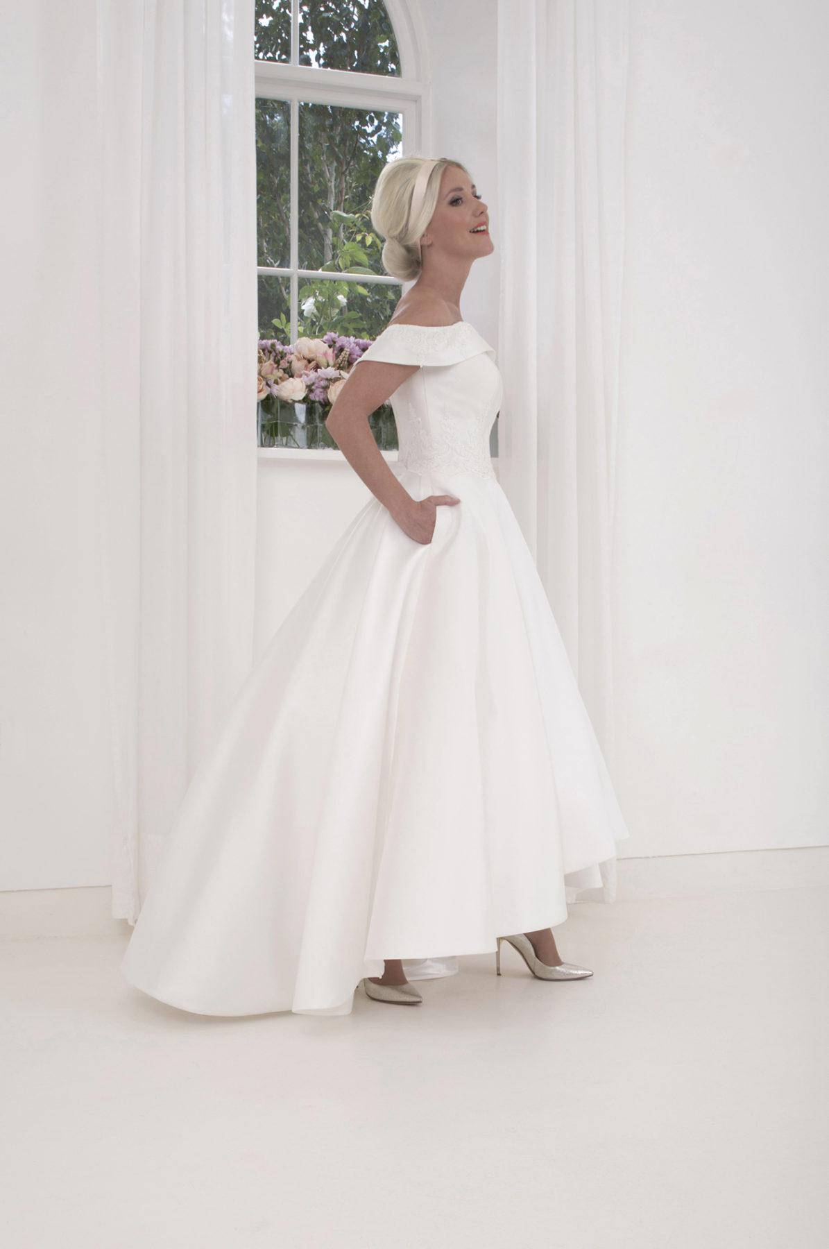 high low bardot wedding dress