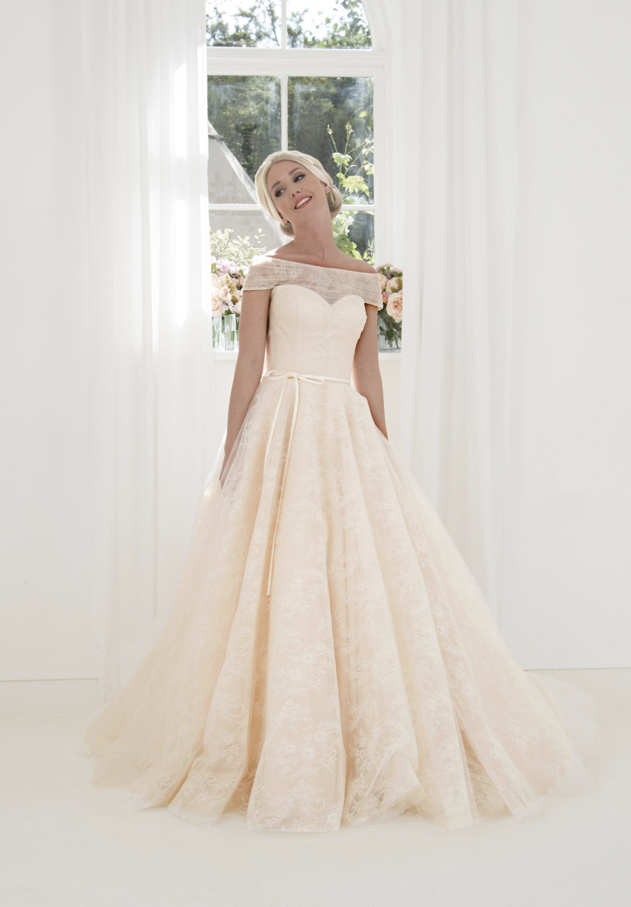 bardot ballgown wedding dress