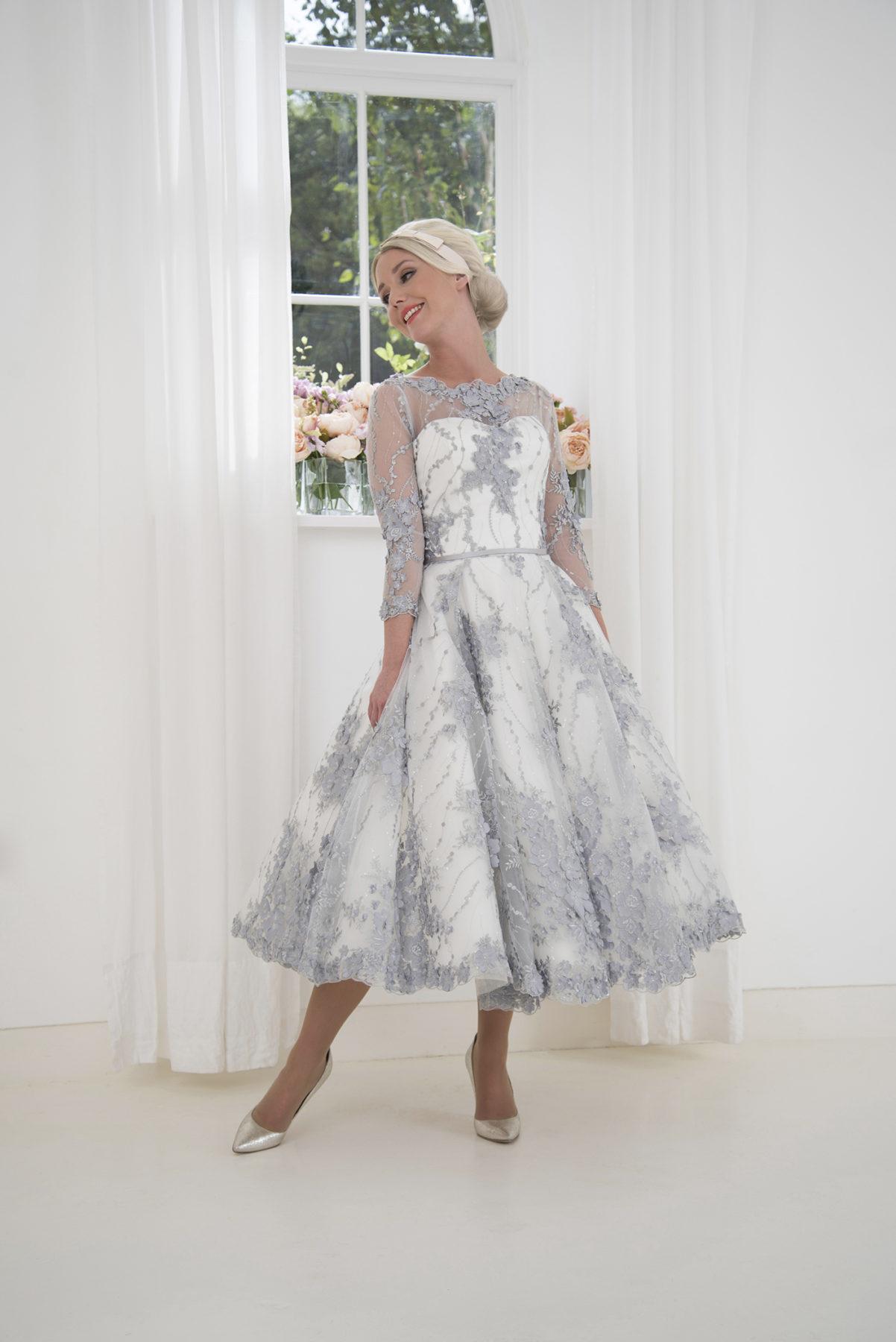 french grey wedding dress