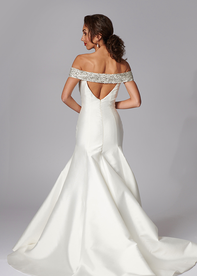Tatiana Back Elegant Off The Shoulder Mikado Wedding Dress Mermaid Diamante Collar Ivory