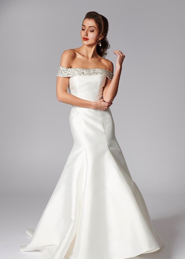 Tatiana Front Elegant Off The Shoulder Mikado Wedding Dress Mermaid Diamante Collar Ivory