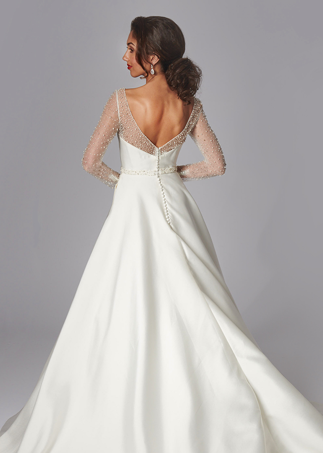 Valentina Back Mikado Satin Ball Gown Pearl Diamante Beading Illusion Neckline Long Sleeves