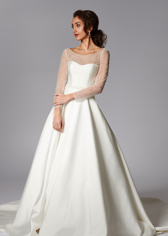 Valentina Front Mikado Satin Ball Gown Pearl Diamante Beading Illusion Neckline Long Sleeves