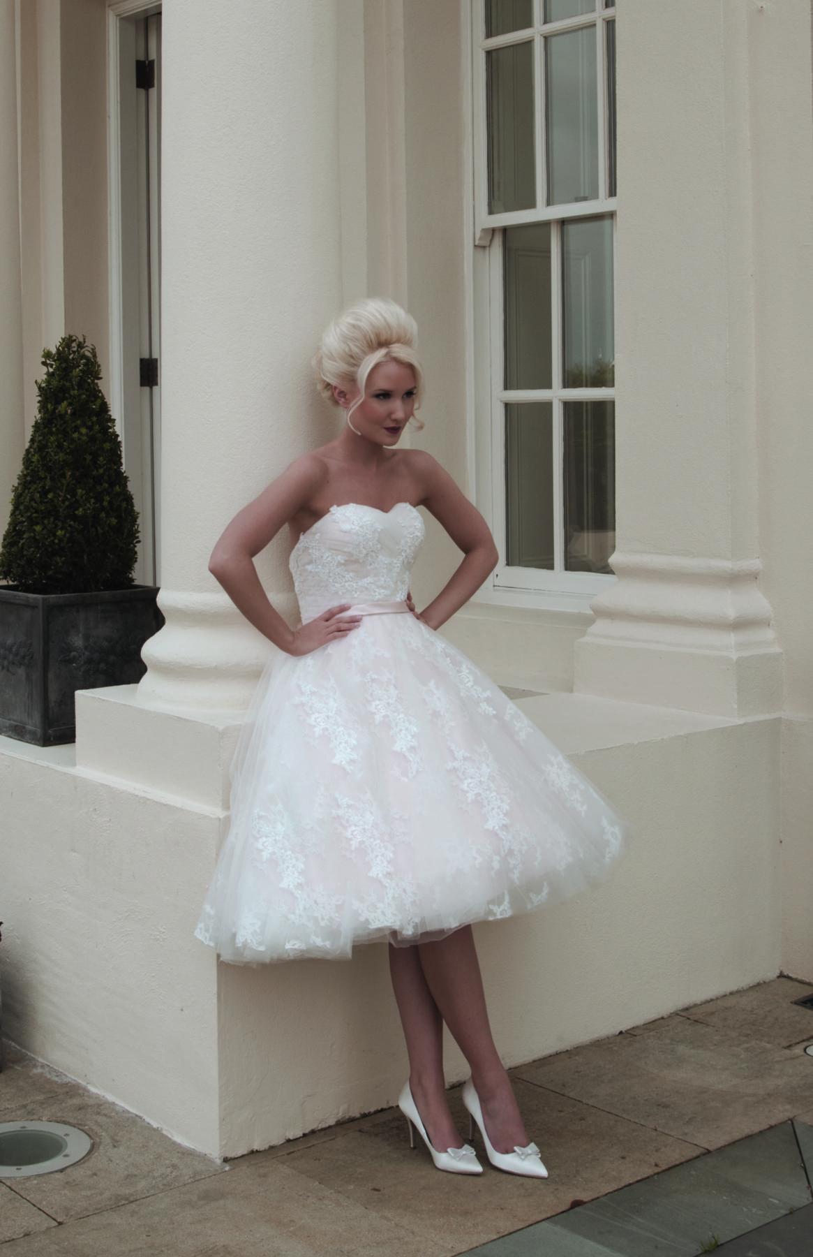 stylish tea length blush pink dress