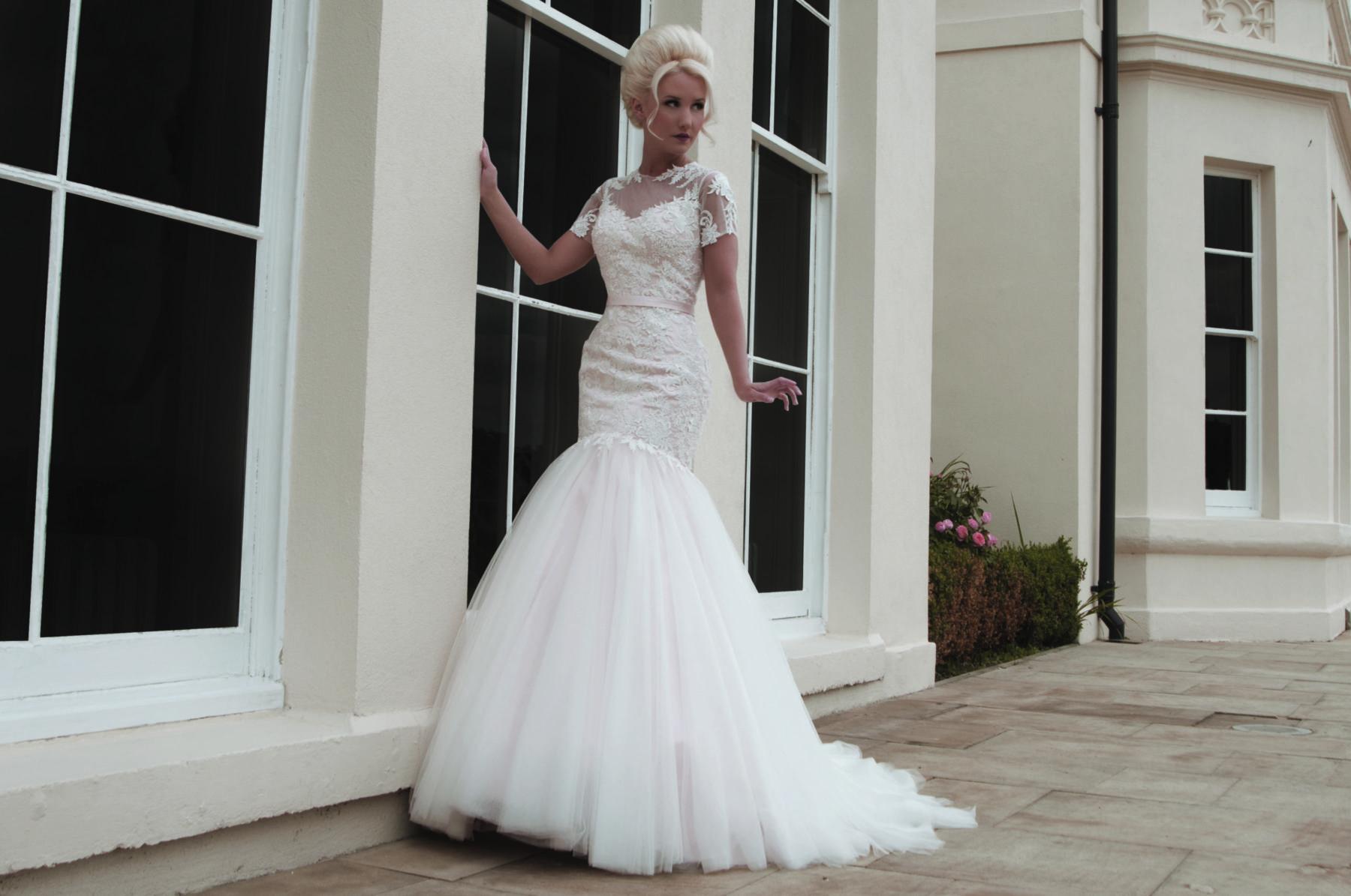 blush pink fishtail bridal gown