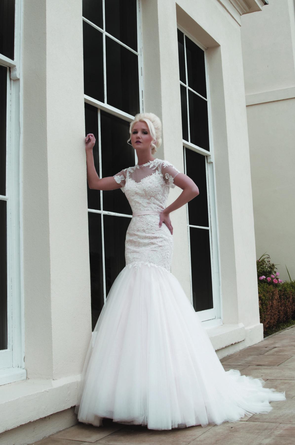 blush pink fishtail wedding dress