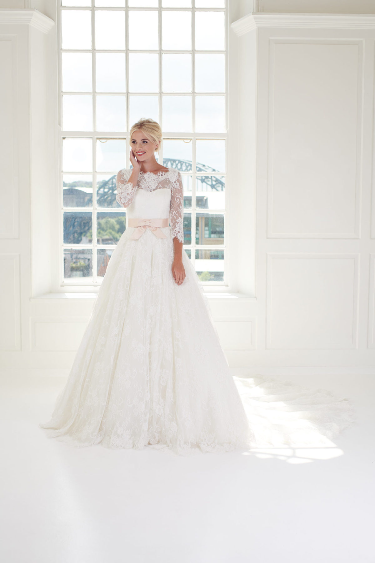 Ivory lace ballgown wedding candice