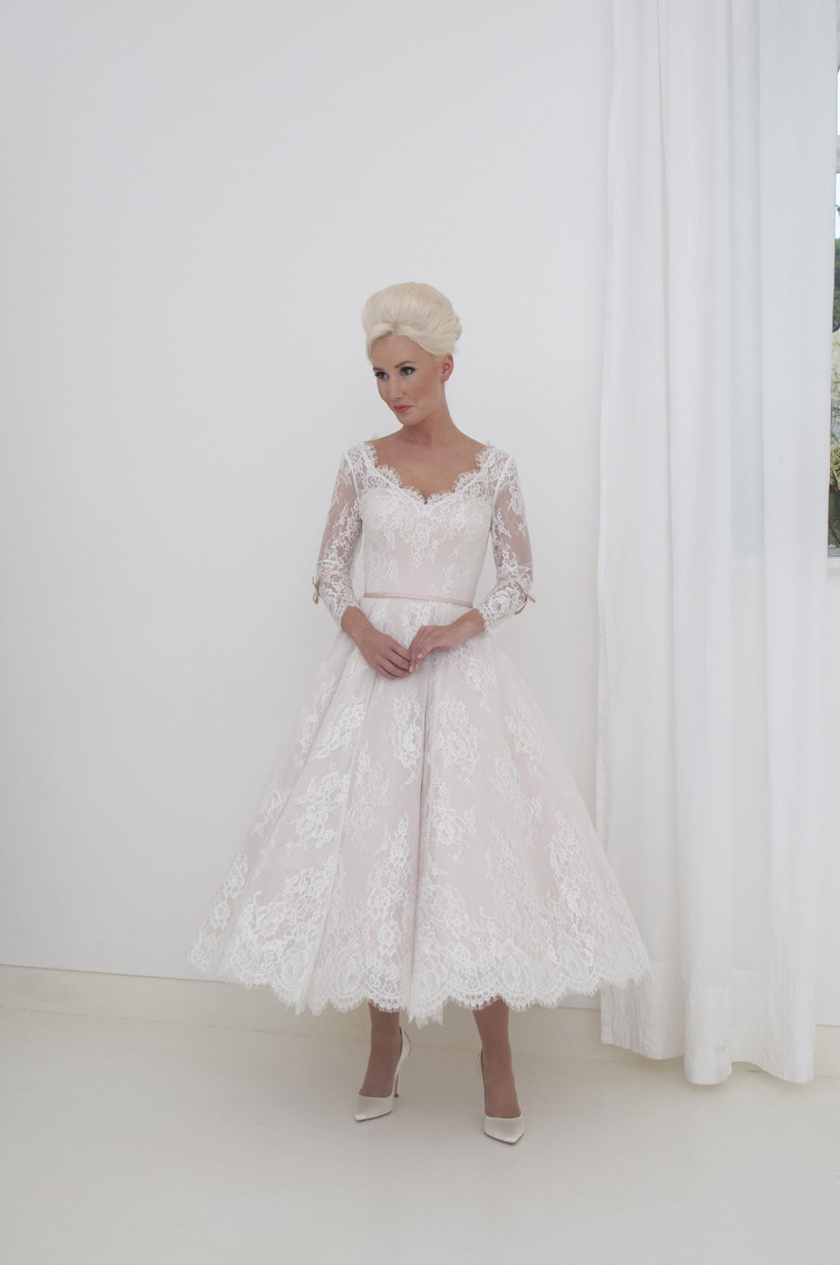blush and ivory lace front view