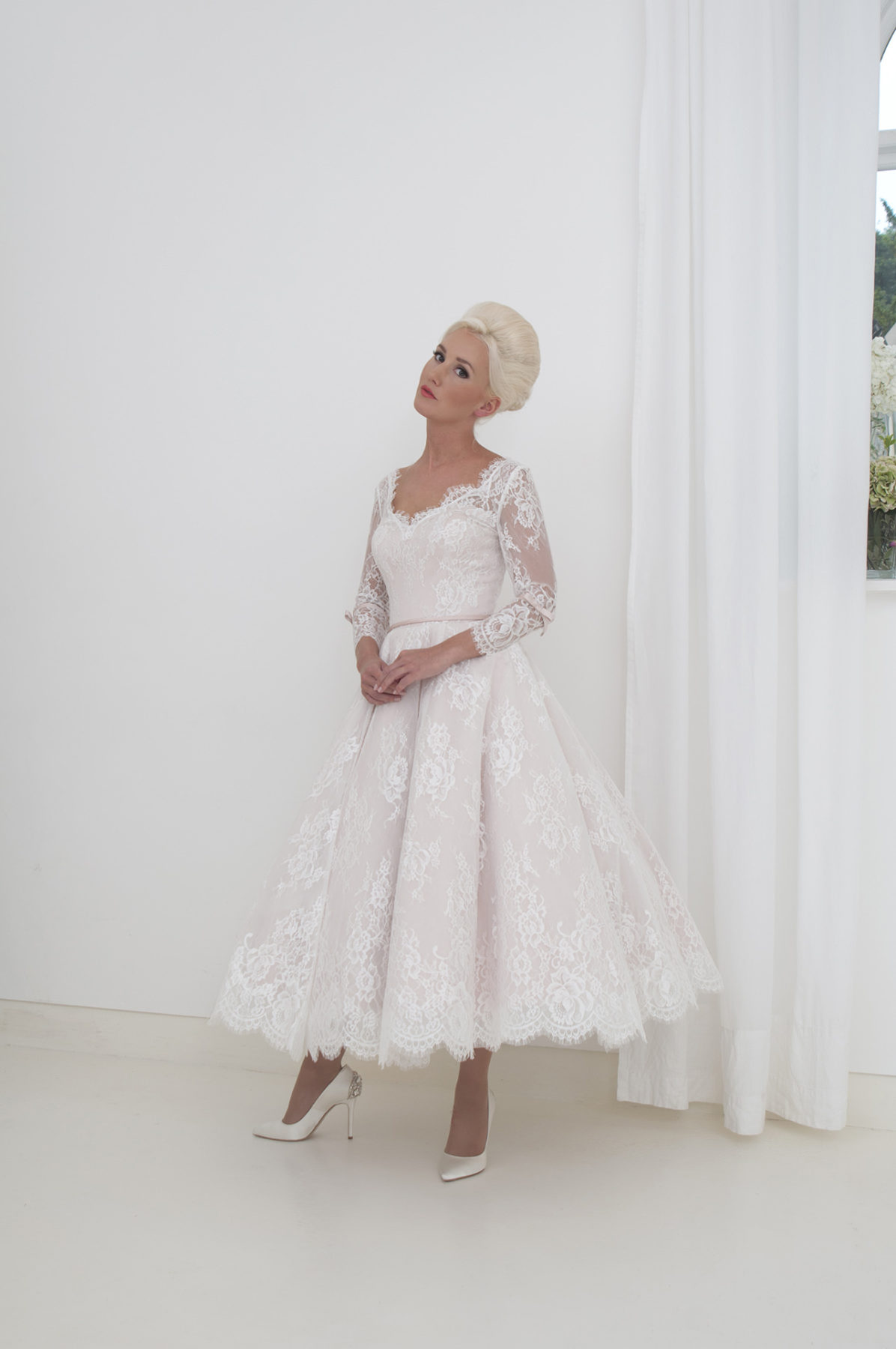blush and ivory lace dress