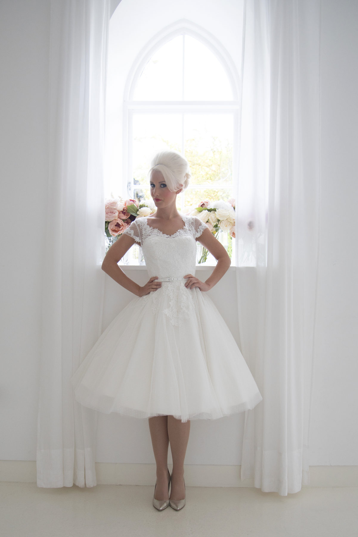 spot tulle and lace dress