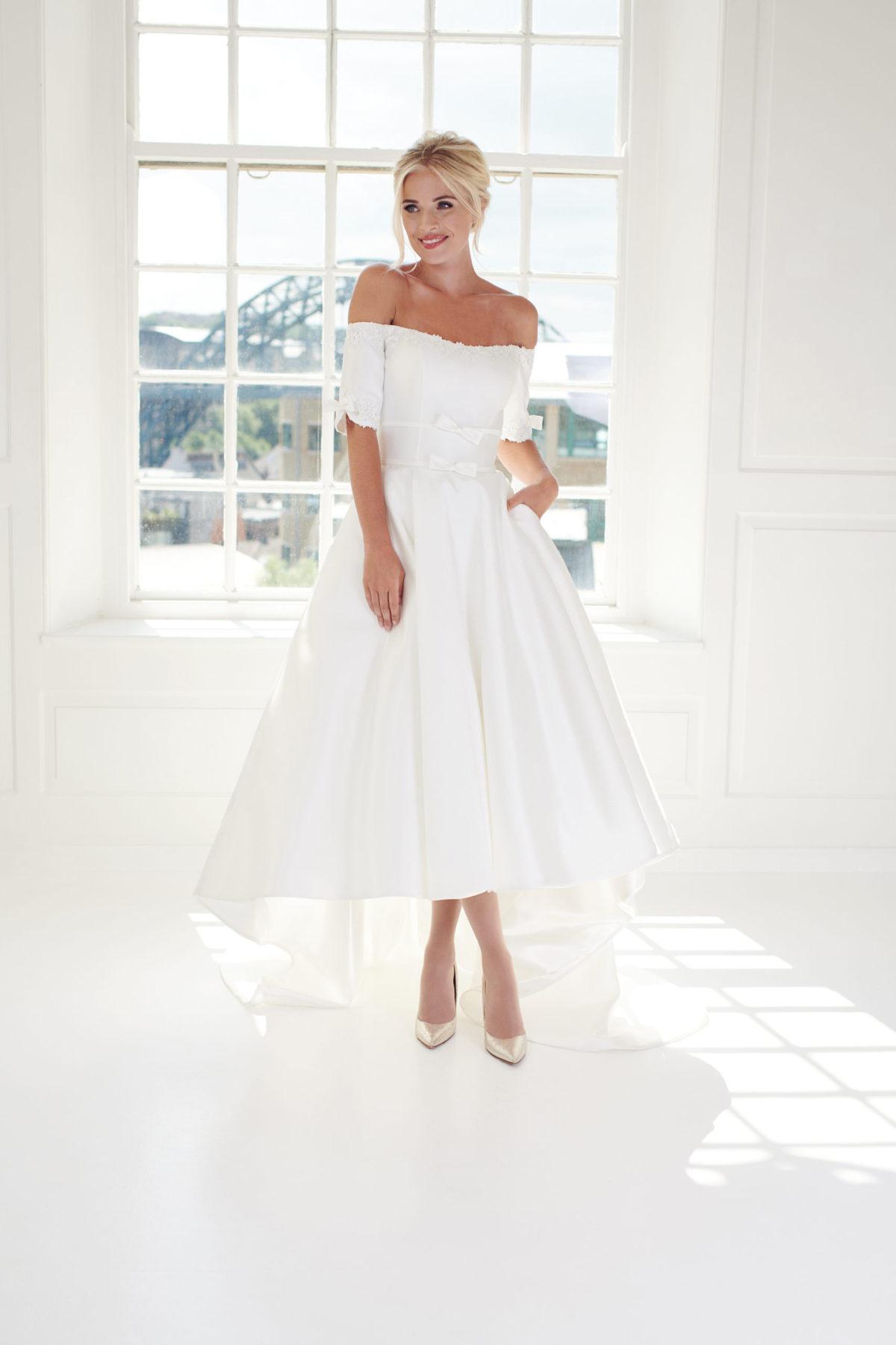 Off the shoulder high wedding dress