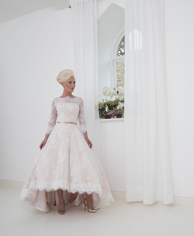 Blush Satin & Ivory French Lace Hi-low Wedding Dress With