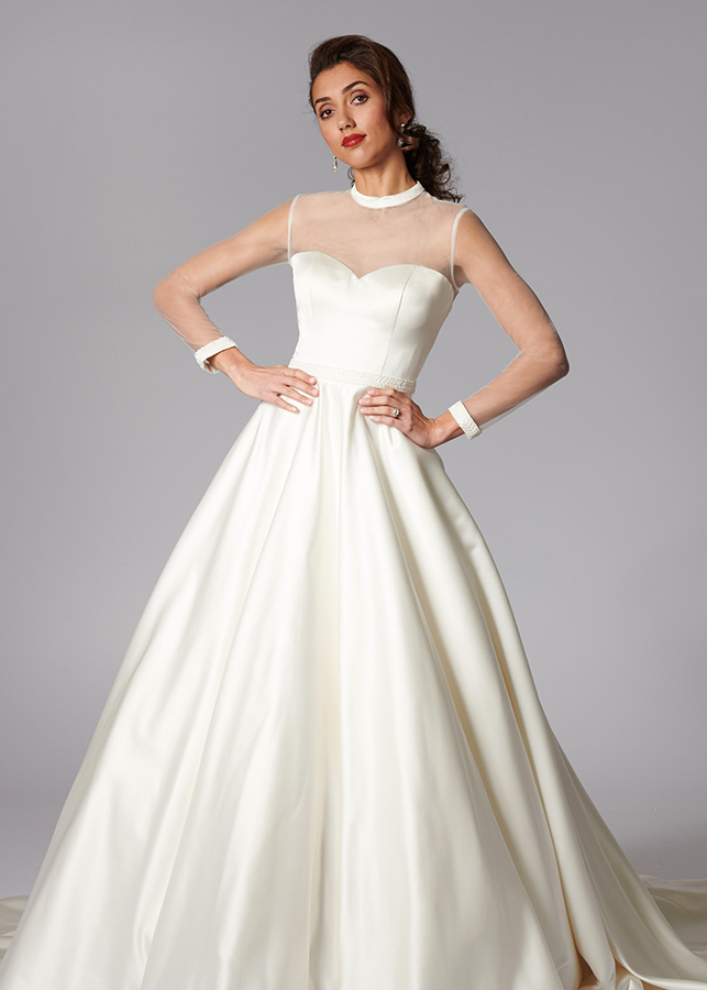 Dominique Front Satin Ballgown Illusion Full Length Sleeves Ribbon Tie Back 2 Meter Train